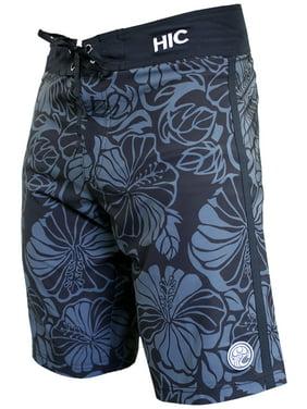 """Hawaiian Island Creations (HIC) 20"""" Flor Real 8 Way Stretch Boardshorts, Charcoal, 28"""