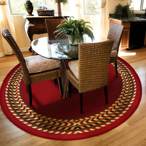Orian Braid Border Round Rug, Rouge