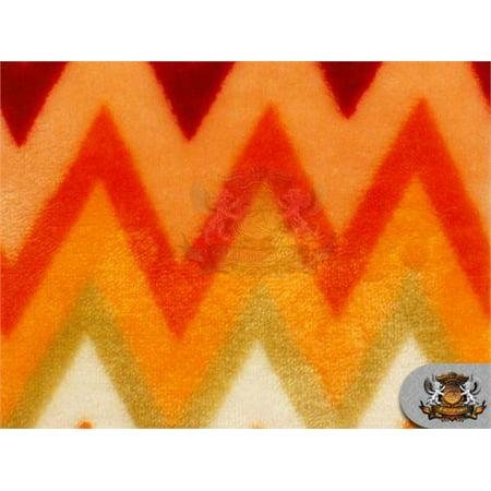 Minky Double Sided Half Inch Chevron Fabric ORANGE / 54