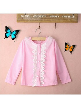Toddler Baby Girl Winter Lace Princess Shirt Sweater Jacket Knit Top Cardigan Pink 2-3Years