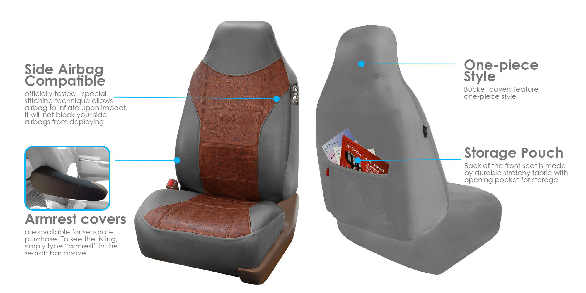 Groovy Fh Group Gray And Brown Textured Leather Seat Covers Side Airbag Compatible With Split Bench Function Full Set Dailytribune Chair Design For Home Dailytribuneorg