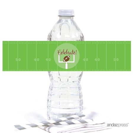 Football Water Bottle (Birthday Water Bottle Label Stickers, Football Touchdown! Party,)