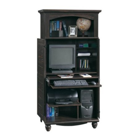 Sauder Harbor View Computer Armoire, Antiqued Black (Mission Computer Armoire)