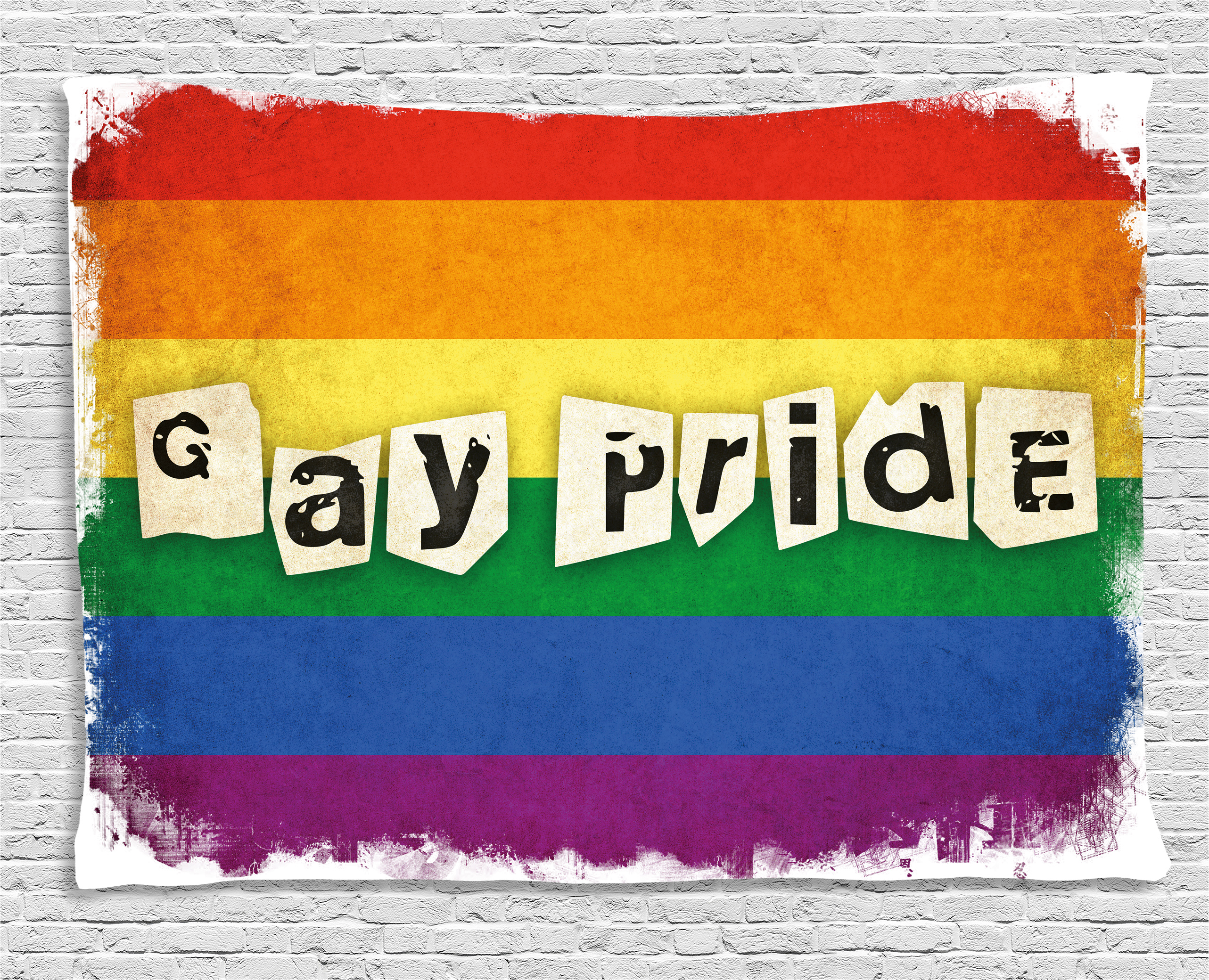 Pride Decorations Tapestry Dated Aged Rainbow Flag With Gay Pride
