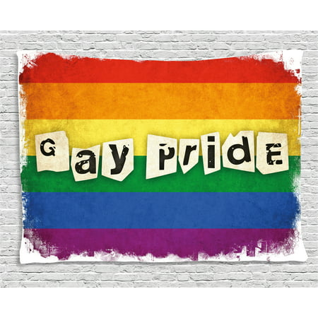 Pride Decorations Tapestry, Dated Aged Rainbow Flag with Gay Pride Typography Retro LGBT Parade Theme, Wall Hanging for Bedroom Living Room Dorm Decor, 60W X 40L Inches, Multicolor, by