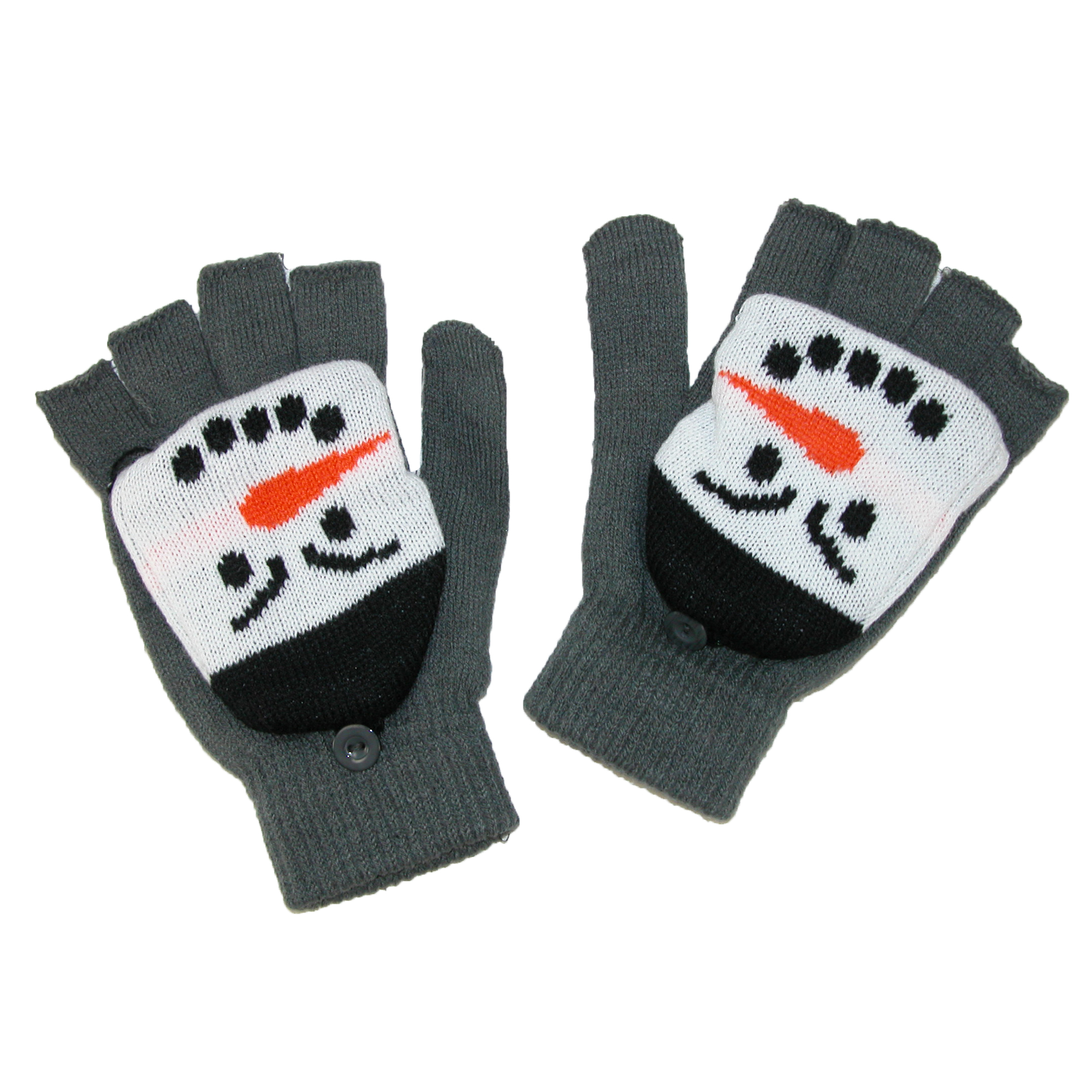 Aquarius  Kids' Snowman Mittens Convertible Fingerless Gloves
