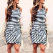 Starmoon Women's Summer Fashion Sleeveless Round Neck Tight T-Shirt Short Striped Dress