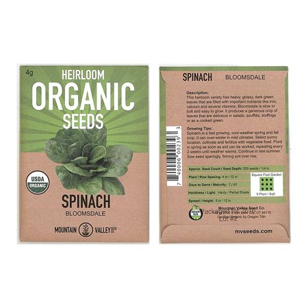 Organic Bloomsdale Spinach Seeds - Long Standing - 4 g Seed Packet - Heirloom, Non-GMO Gardening Seeds - Microgreens and Salad Garden, Spinach Seeds -.., By Mountain Valley Seed Company Ship from (Best Organic Non Gmo Seed Companies)