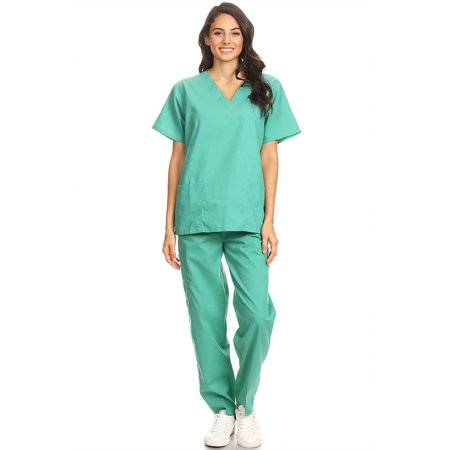 3f010384566 Fashion Brands Group - 2602 Women Scrub Sets V-Neck Medical Scrubs Draw  String and Elastic Band Green M - Walmart.com