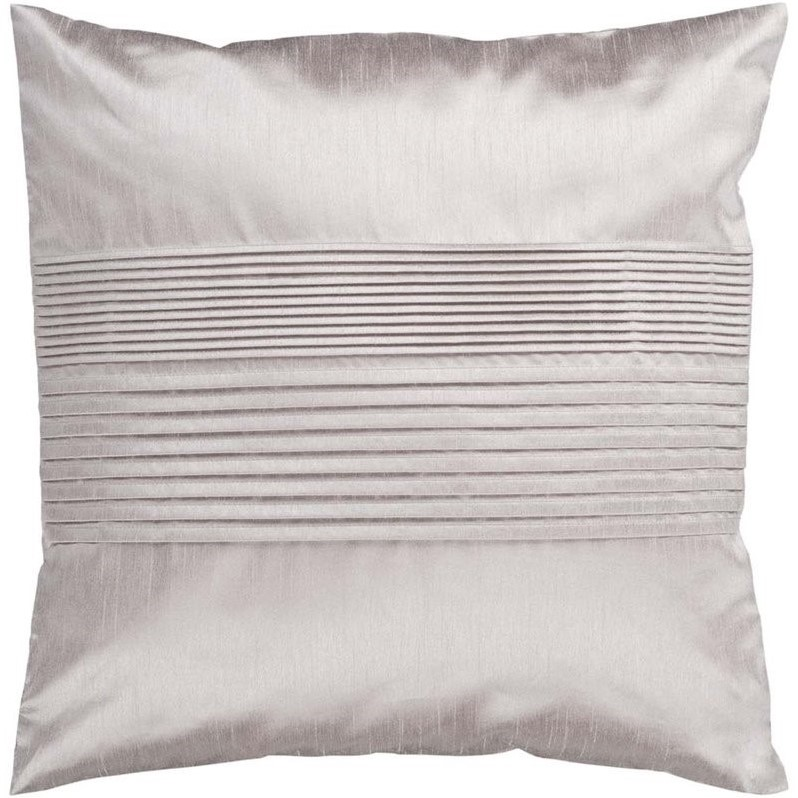 "Surya Solid Pleated Down Fill 18"" Square Pillow in Taupe"