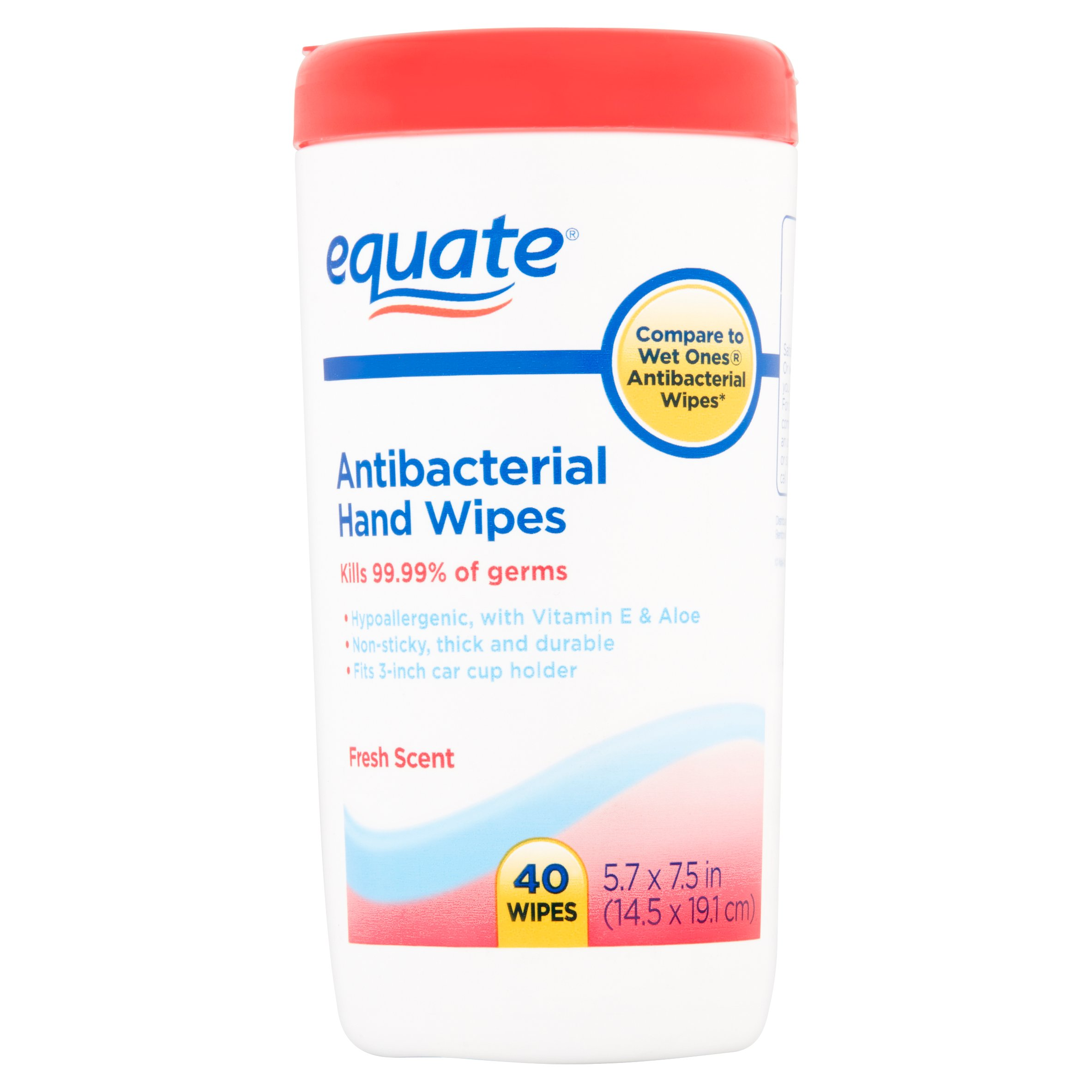 Equate Fresh Scent Antibacterial Hand Wipes, 40 Ct