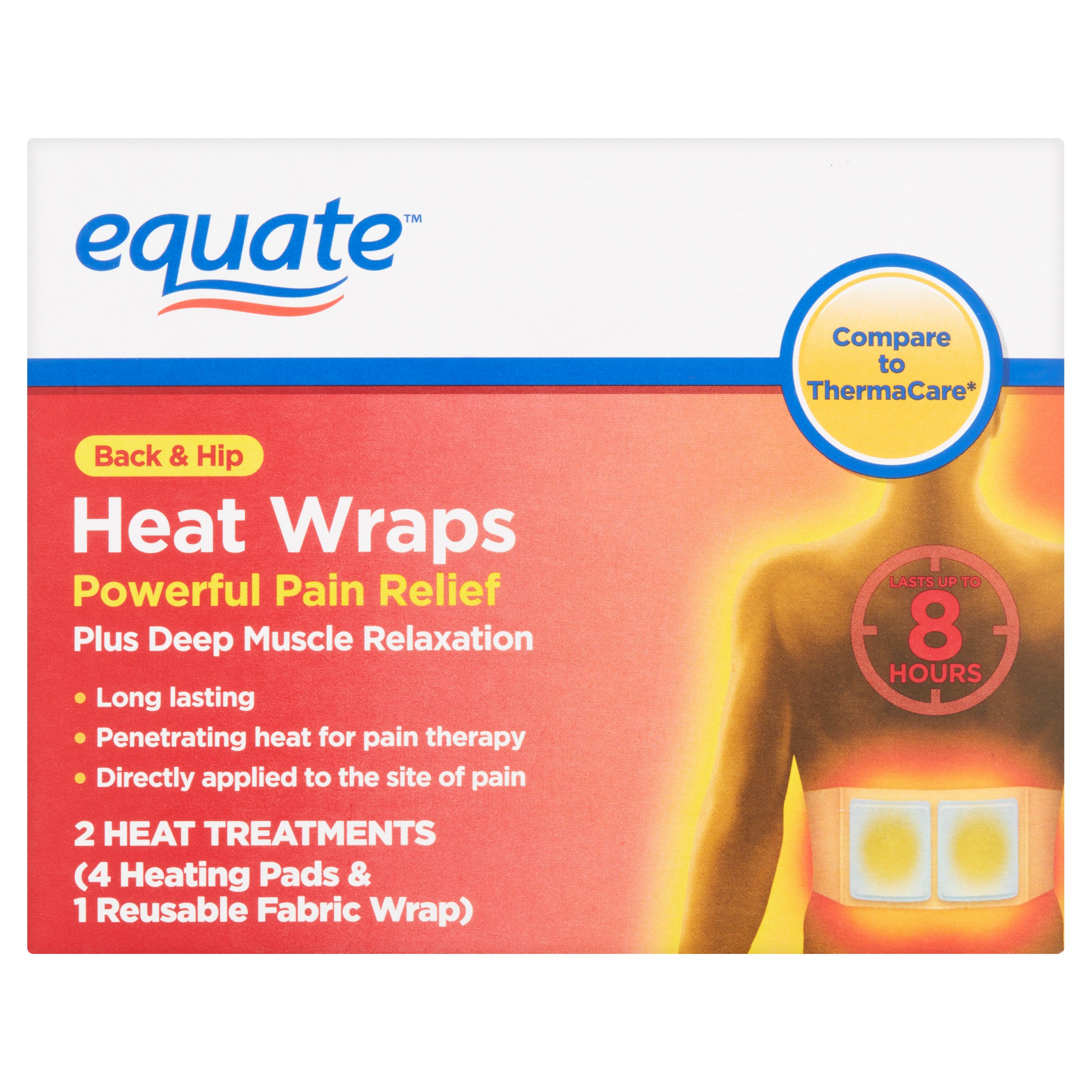 Equate Back & Hip Heat Wraps, 2 Ct