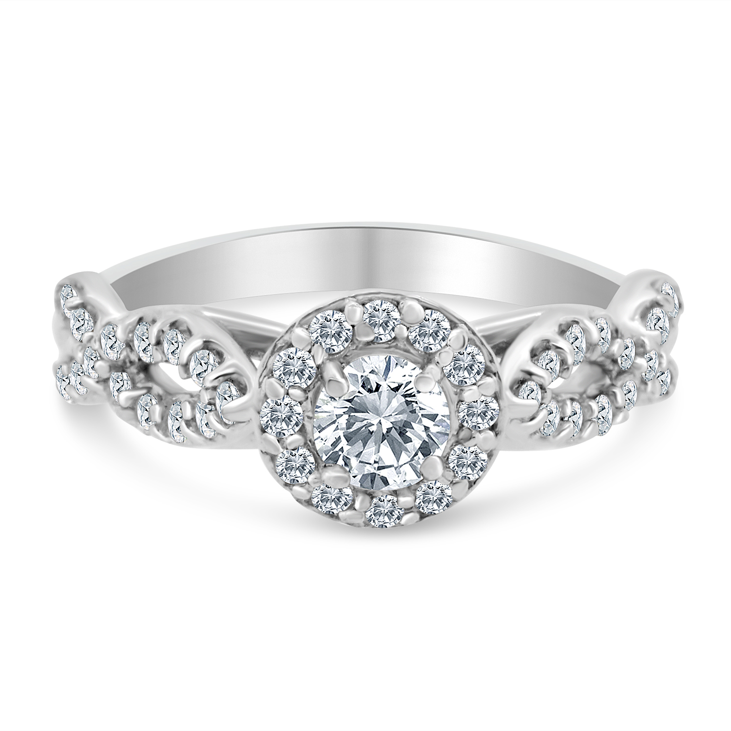3/4ctw Diamond Infinity Engagement Ring in 10k  White Gold