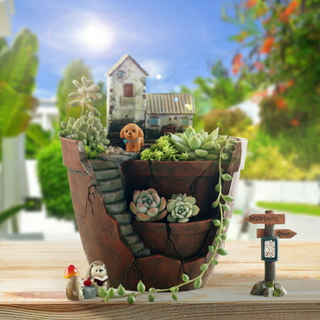 Sky Garden Mini Plant Bonsai Pot Succulent Herb Basket Planter Flower Trough Box Christmas Gift Present Home Decor ()