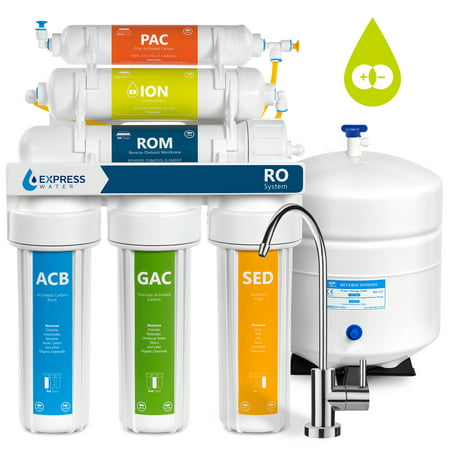 Express Water 6-Stage Reverse Osmosis Water Filter System RO + DI Deionization Mixed Bed Resin 50 GPD -