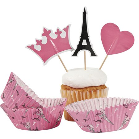 Paris Party Cupcake Cups w/ Picks (50 Pack) - Party Supplies