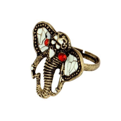 BMC Adjustable Rhinestone Enamel Gold Color Alloy African Elephant Fashion Ring