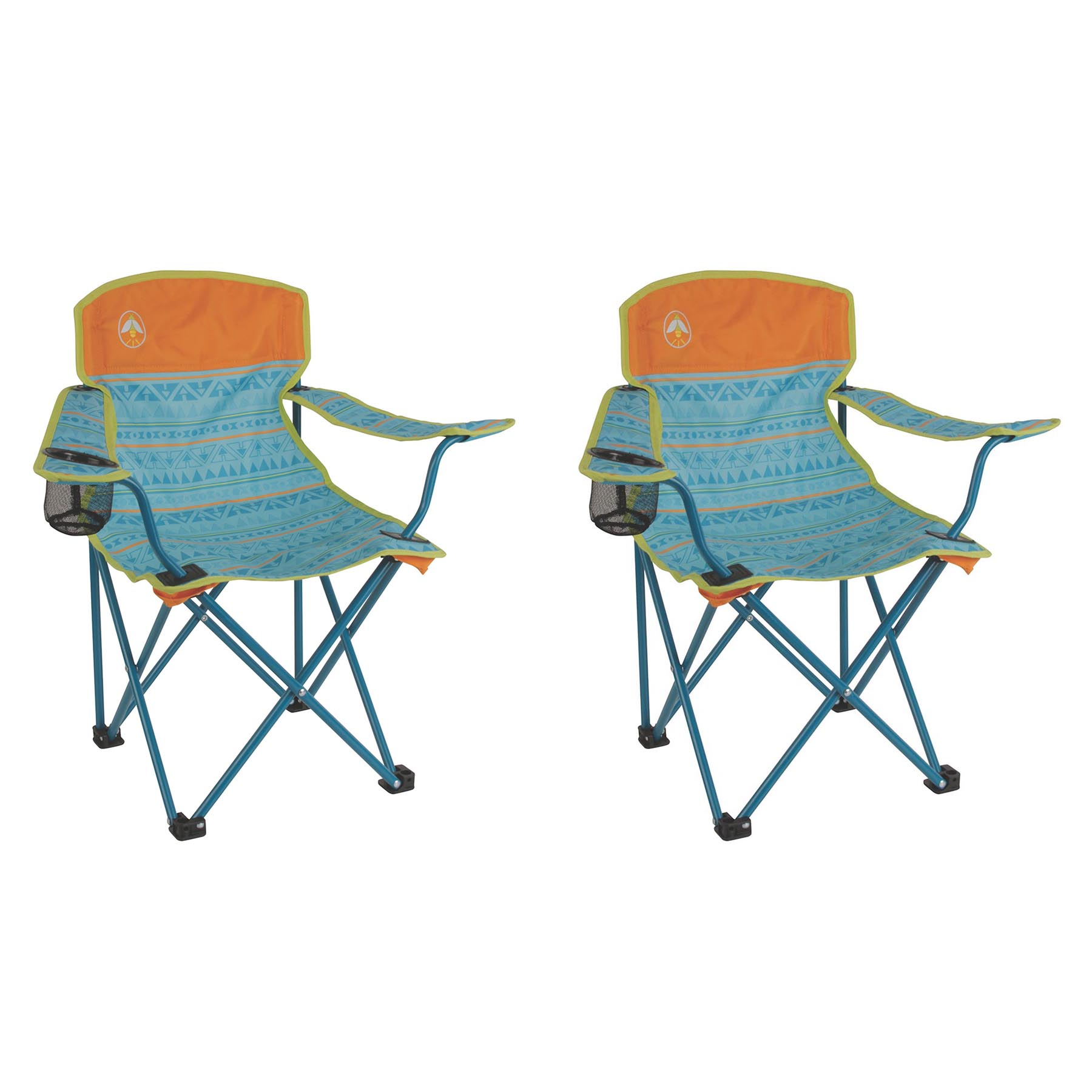 Coleman Kids Camping Glow In The Dark Teal Quad Chairs (2 Pack