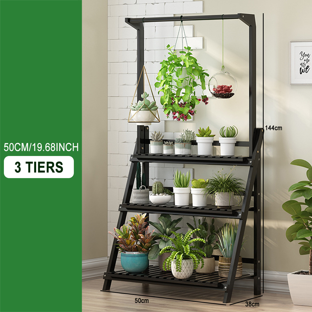3 Tier Wooden Folding Ladder Book Plant Stand with Hanging Bar Indoor Outdoor