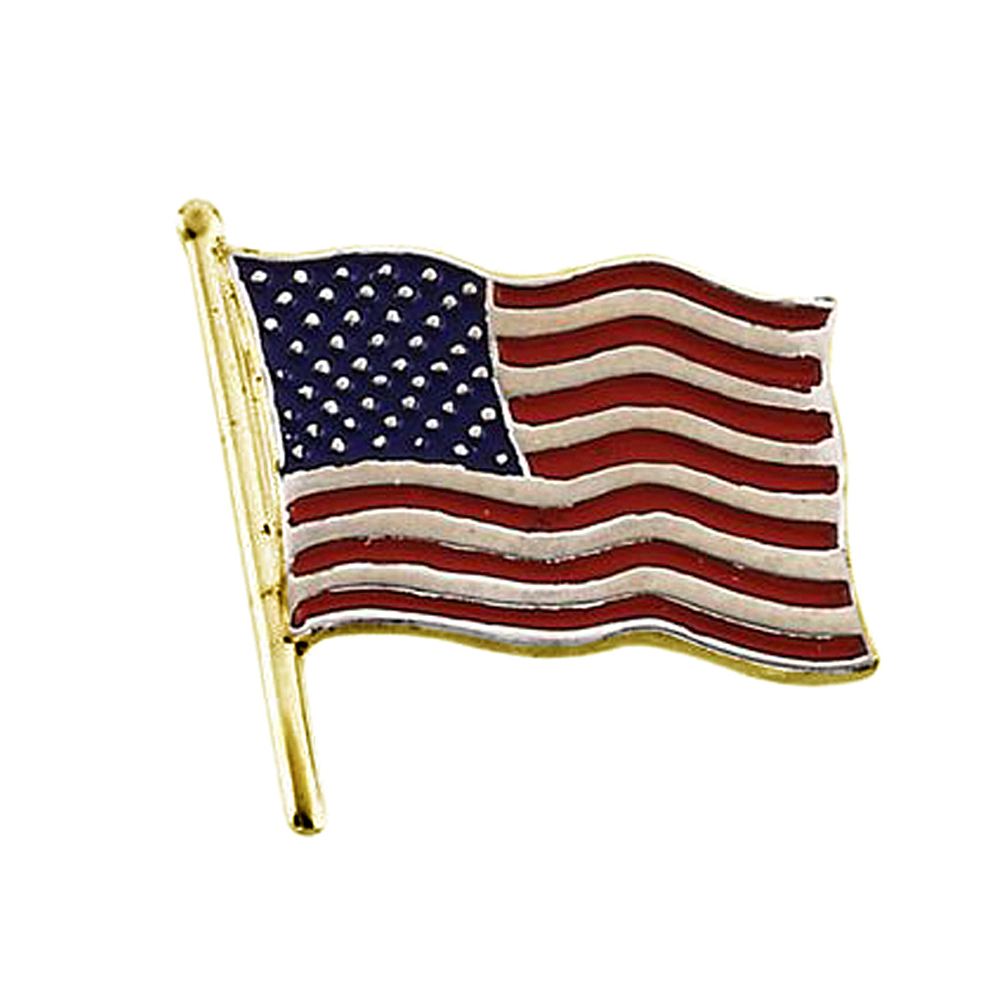 14K Yellow Gold Flag Stars and Stripes Pin Brooch by