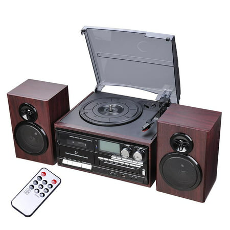 Yescom Bluetooth Record Player System with 2 Speakers 3-Speed Stereo Turntable System CD/Cassette Player AM/FM
