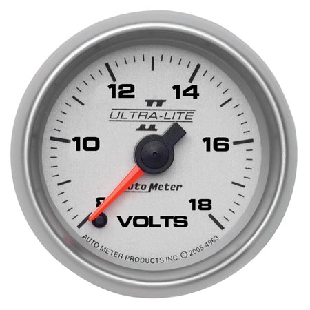 AutoMeter 4991 Ultra-Lite II Electric Voltmeter Gauge 8-18 Volts Full Sweep