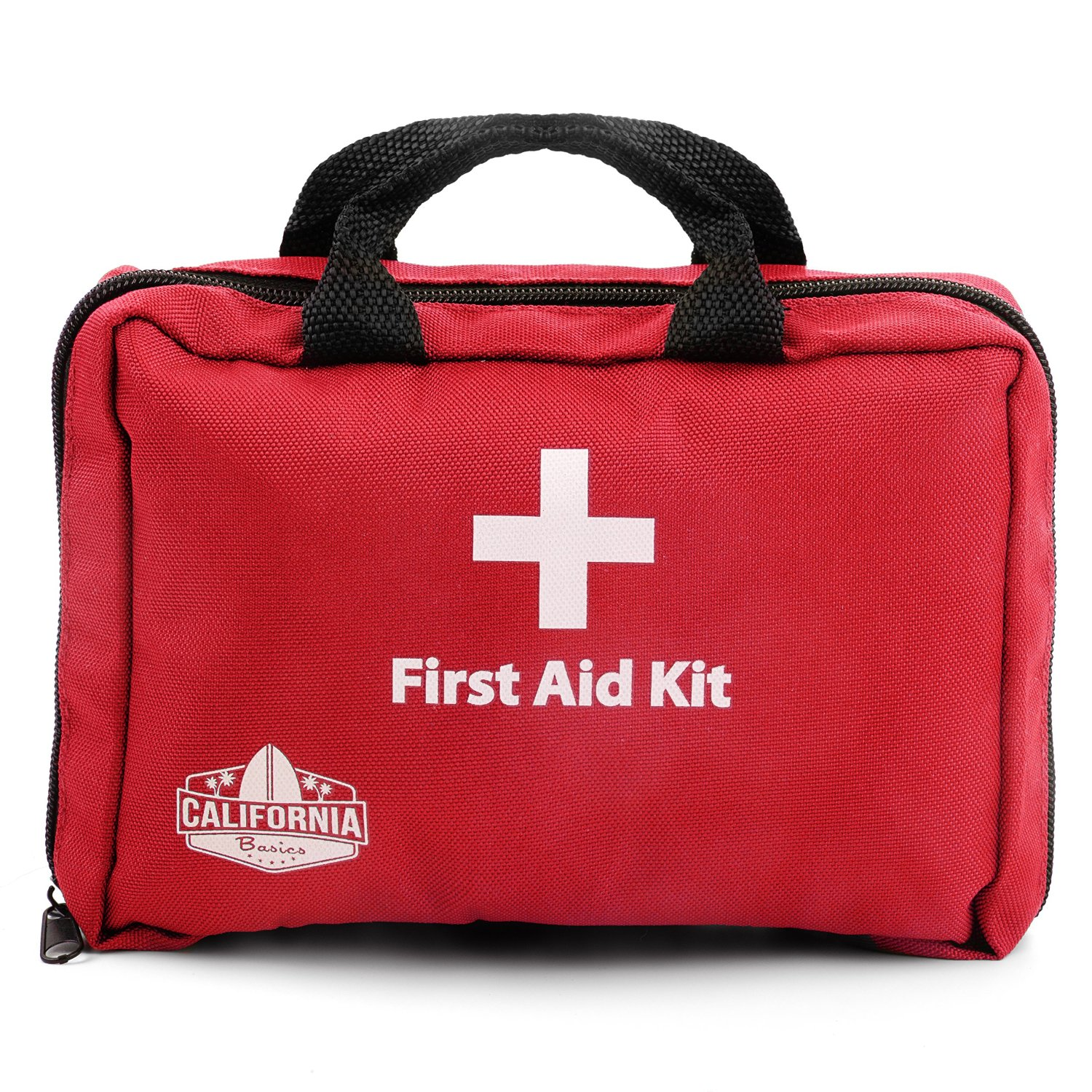 California Basics 115 Piece Portable Travel First Aid Essentials Kit with Carrying Case, Includes Eye Wash, Cold Pack, Emergency Blanket for Home, Office, Backpack, Travel