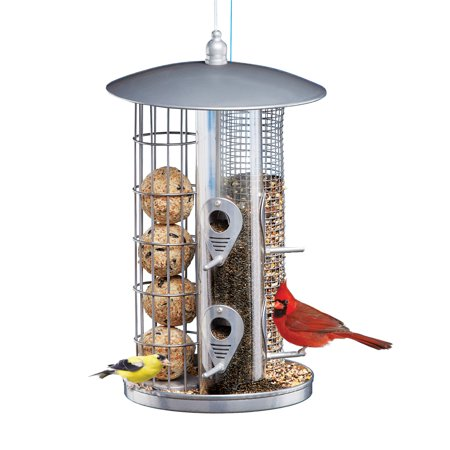 3 in 1 Squirrel Resistant Bird Feeder, Hanging, Metal