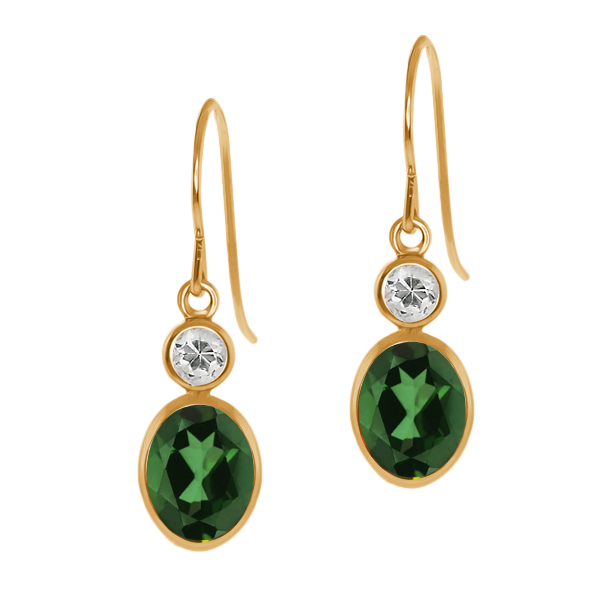 2.08 Ct Oval Emerald Envy Mystic Topaz White Topaz 14K Yellow Gold Earrings