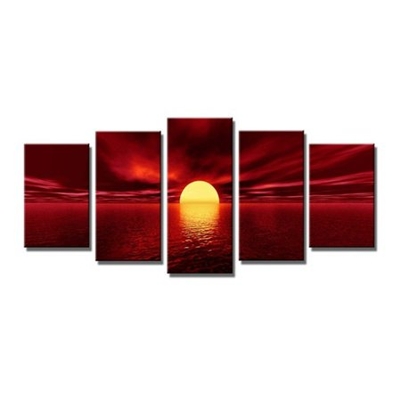 Asewin Sunrise Red Sun Modern 5 Piece Framed Wrapped Landscape Canvas Prints Artwork Ocean Sea Beach Pictures Paintings on Canvas Wall Art for Living Room Bedroom Home Decor ()