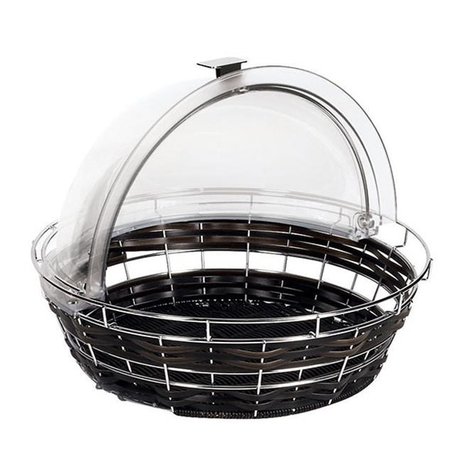 APS 42461-35 Black Round Polyrattan Bread Basket cover not included, L 13.875 x W 13.875 x H 7.875 by APS