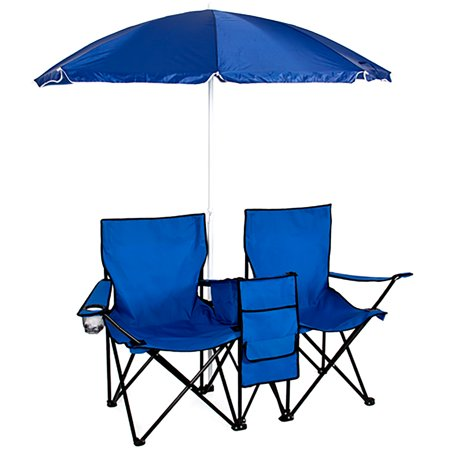 Best Choice Products Picnic Double Folding Chair with Umbrella & Table Cooler