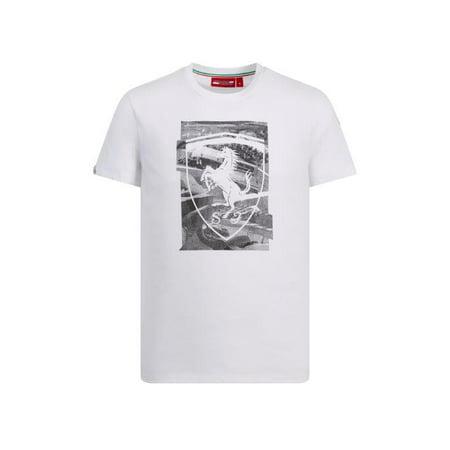 Scuderia Ferrari Men's 2019 F1 White Shield T-Shirt (2017 Ferrari White)