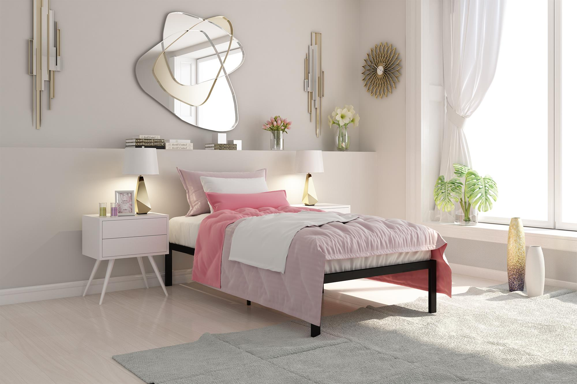 Signature Sleep Premium Modern Metal Platform Bed with Headboard, Multiple Finishes and Sizes by Dorel Home Products