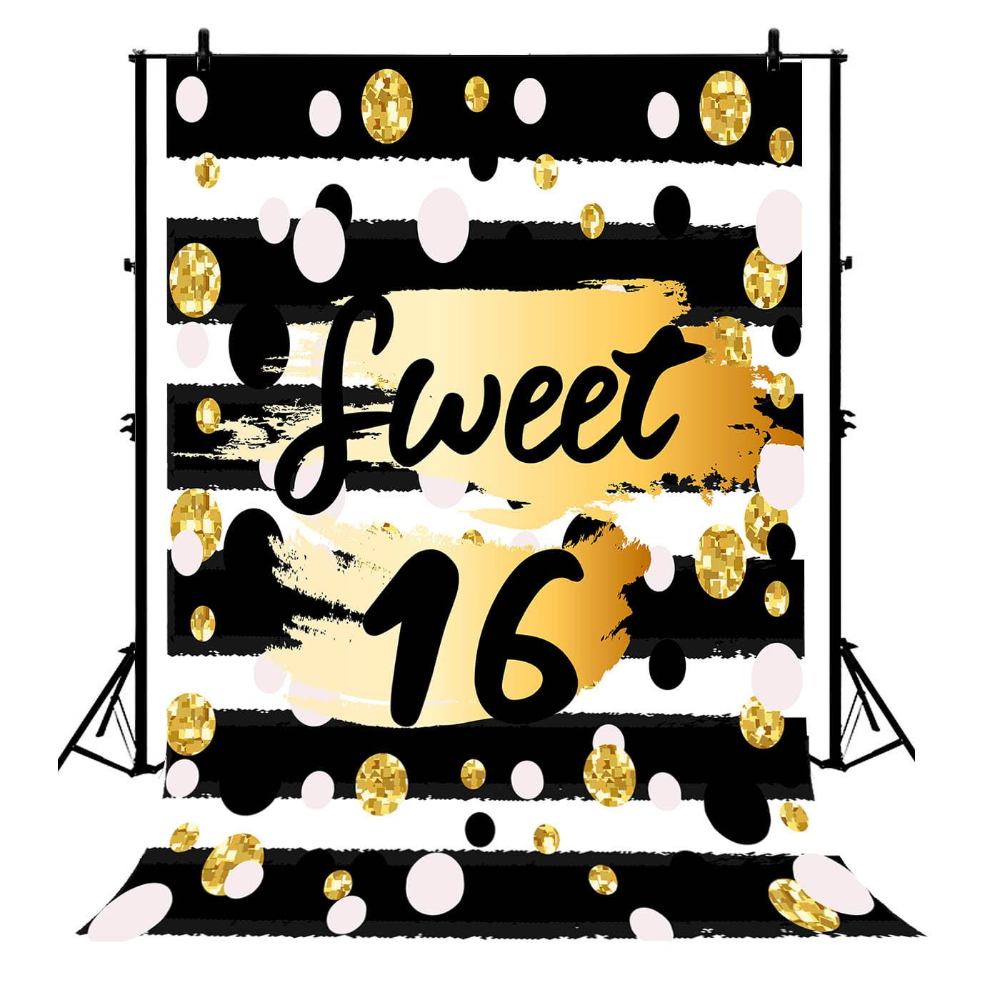 Gckg 7x5ft Black White Strips Sweet 16 Spots For Party Polyester