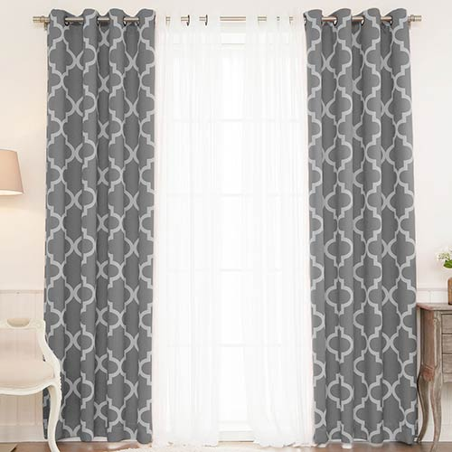 Grey Moroccan 52 x 96 In. Lace Room Darkening Window Treatments, Set of Four