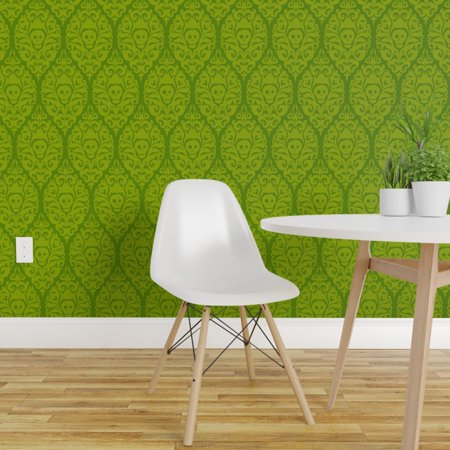 Happy Halloween Wallpaper Scary (Wallpaper Roll Damask Green Halloween Skull Holiday Spooky Scary 24in x)