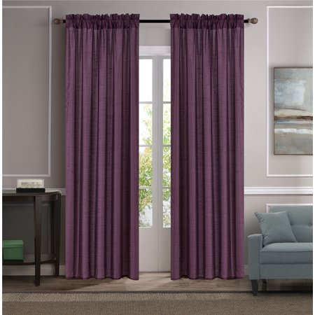 MR2 PLUM 2-PC SET MYRA Rod Pocket Faux Silk Window Curtain Treatment, Set of Two (2) Solid Semi Sheer Panels 55