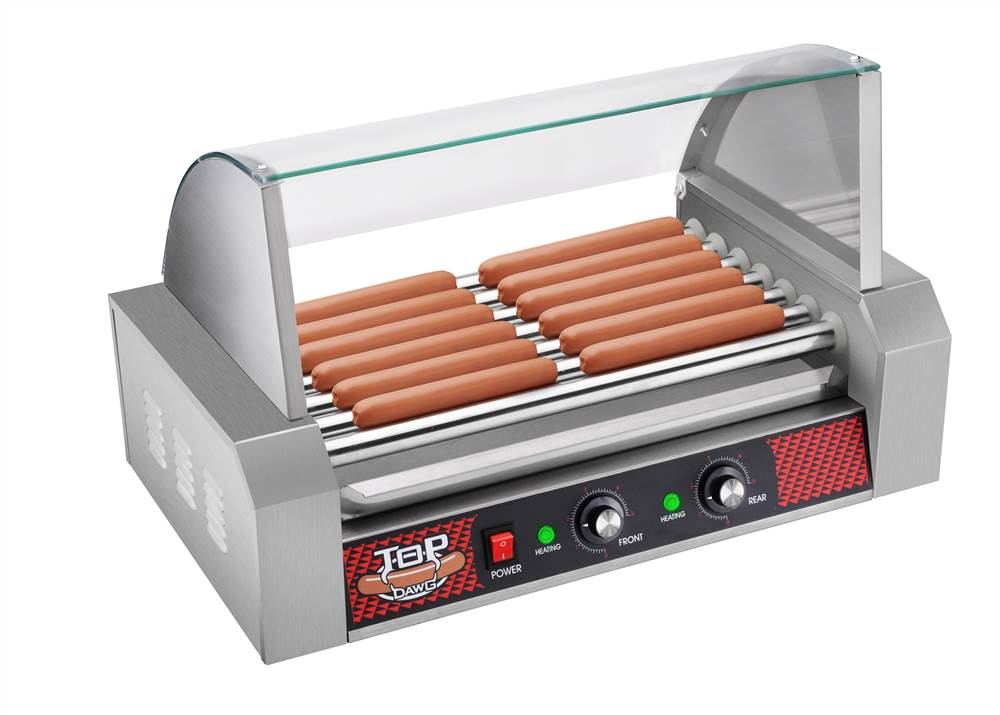 top dawg commercial seven roller hot dog machine with cover - Hot Dog Warmer