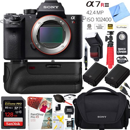 Sony a7R III 42 4MP Full-frame Mirrorless Interchangeable Lens Camera Body  (ILCE7RM3/B) with Dual Battery + Battery Grip + 128GB Pro Memory A7RIII