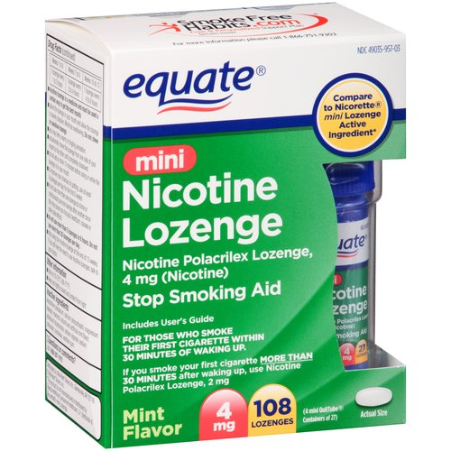 Equate Mini Nicotine Lozenge Stop Smoking Aid, 4mg, 108 count