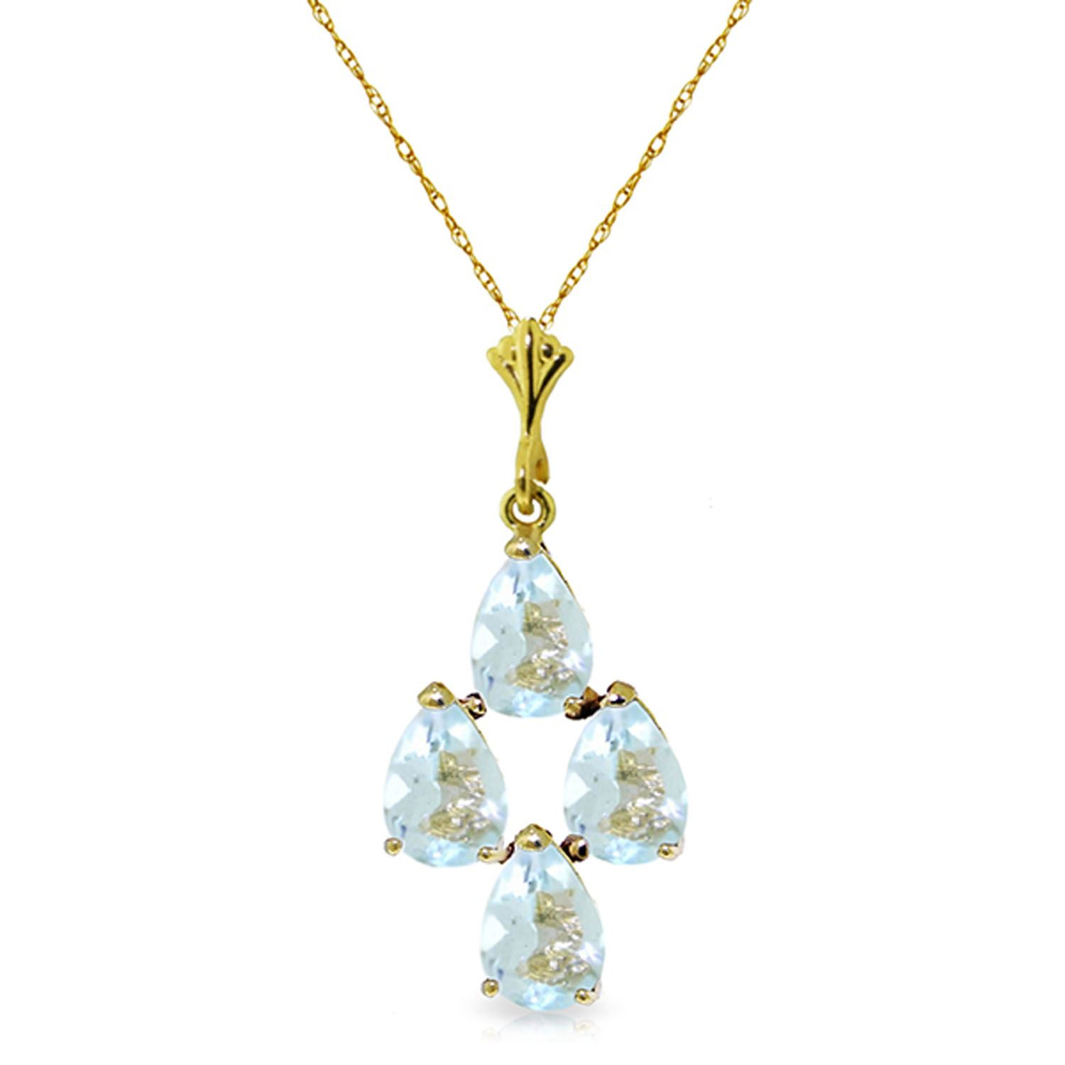 ALARRI 1.95 CTW 14K Solid Gold Surprise Me Aquamarine Necklace with 22 Inch Chain Length. by ALARRI