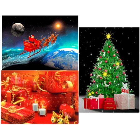 Christmas -3 3D Lenticular Postcard Greeting Cards - Christmas Sleigh,Christmas Tree and Christmas (Christmas Postcard Santa)