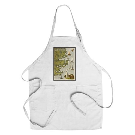 Outer Banks, North Carolina - Lighthouse & Town Map - Lantern Press Artwork (Cotton/Polyester Chef's