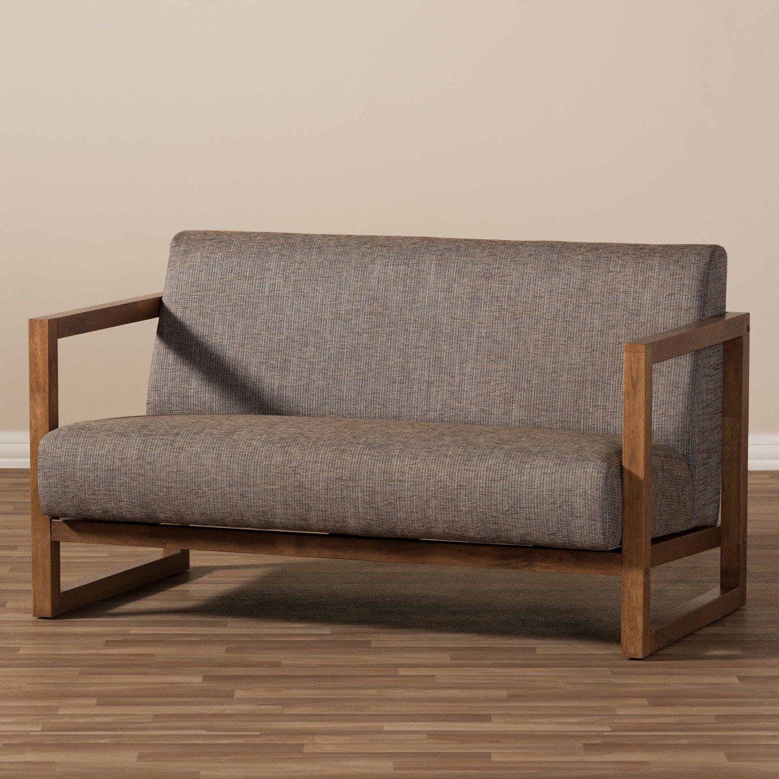 Baxton Studio Valencia Mid-Century Modern Walnut Finish Gravel Fabric Upholstered Loveseat