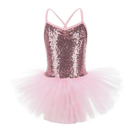 Toddler Girls Princess Sequin Shiny Ballet Leotard Dance Tulle Dress ()