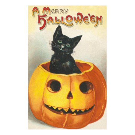 A Merry Halloween, Cat in Jack O'Lantern Print Wall (Halloween Cat Jack O'lantern)