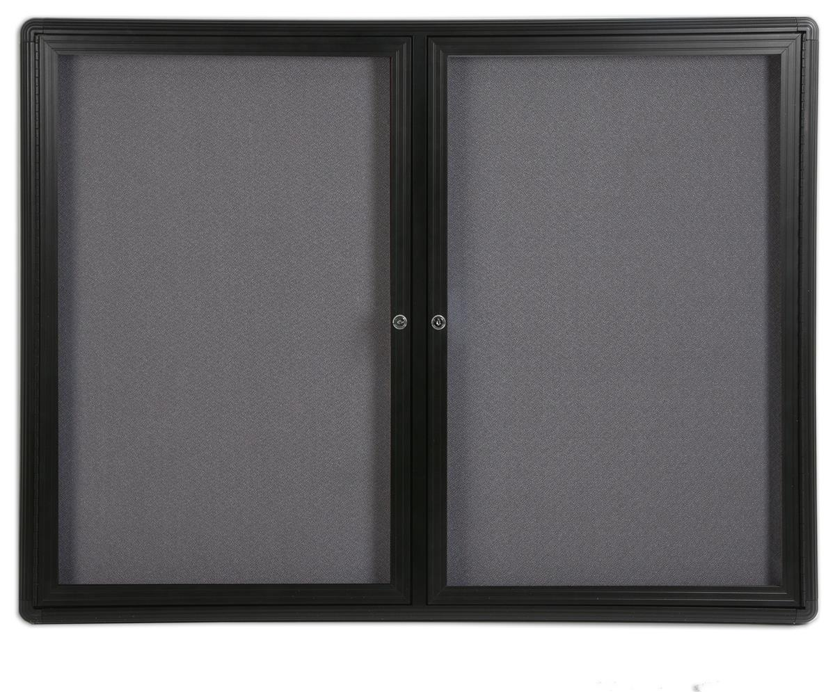 "4' x 3' Enclosed Bulletin Board with 2 Swing-open Locking Doors, 48"" x 36"" Gray Fabric Notice Board... by Displays2go"
