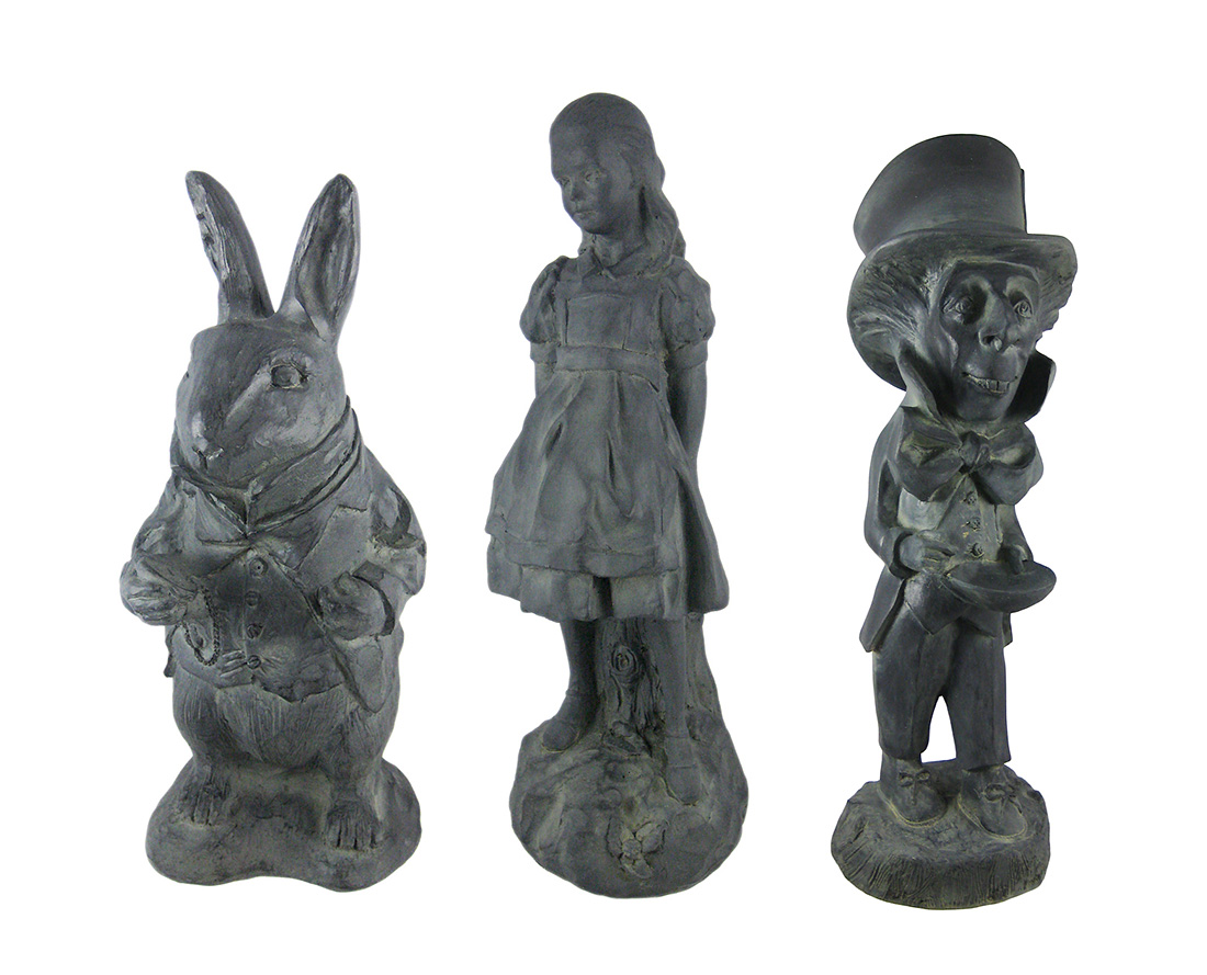 Alice in Wonderland White Rabbit, Mad Hatter, Alice Oxidized Garden Statue Set by House Parts, Inc.