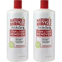 2 Pack Nature's Miracle Just for Cats Stain & Odor Remover - Stain Urine Odor Vomit Remover carpets 32 Oz